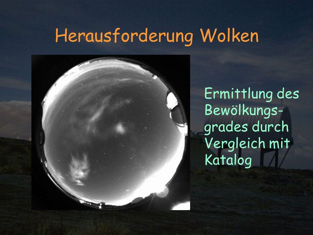 Herausforderung Wolken Ermittlung des Bewölkungs- grades durch Vergleich mit Katalog