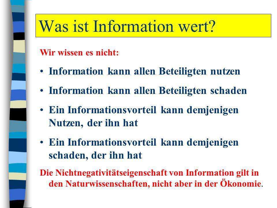 Was ist Information wert? Wir wissen es nicht: Information kann allen Beteiligten nutzen Information kann allen Beteiligten schaden Ein Informationsvo