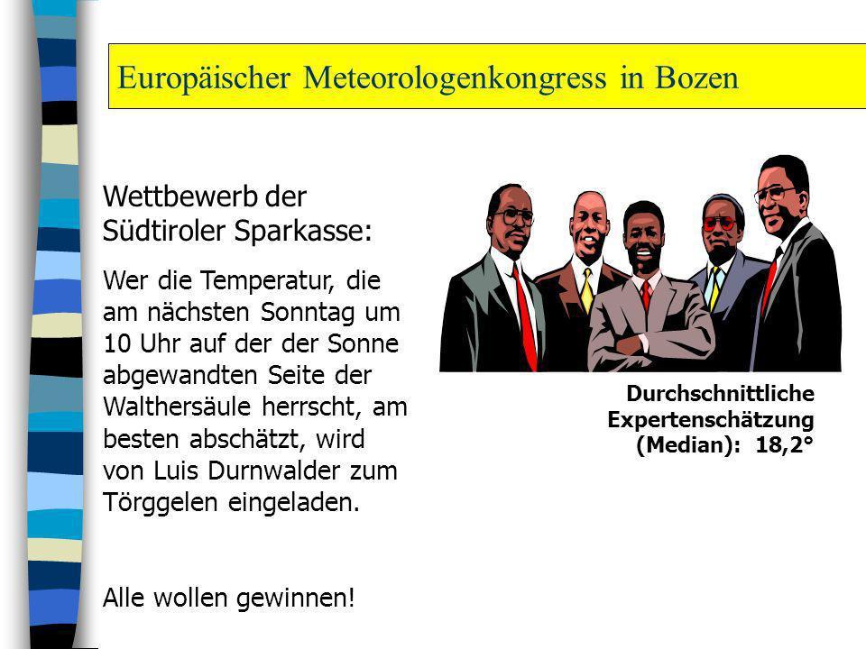 Europäischer Meteorologenkongress in Bozen Wettbewerb der Südtiroler Sparkasse: Wer die Temperatur, die am nächsten Sonntag um 10 Uhr auf der der Sonn