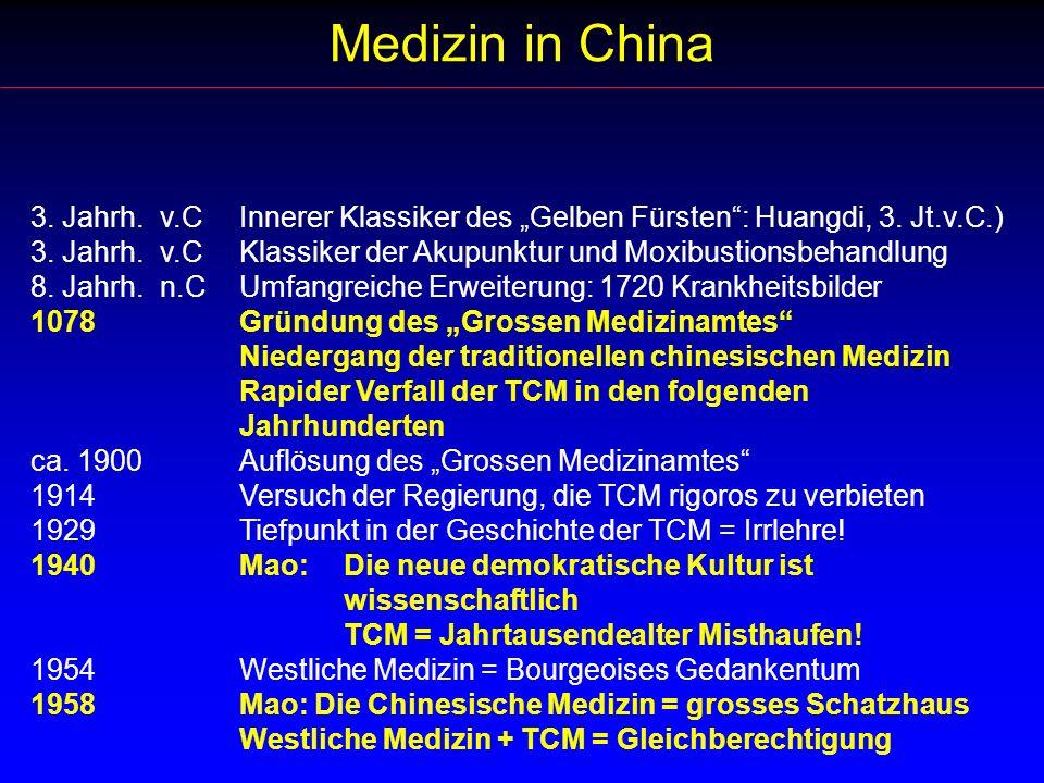 Medizin in China 3. Jahrh. v.C Innerer Klassiker des Gelben Fürsten: Huangdi, 3. Jt.v.C.) 3. Jahrh. v.CKlassiker der Akupunktur und Moxibustionsbehand