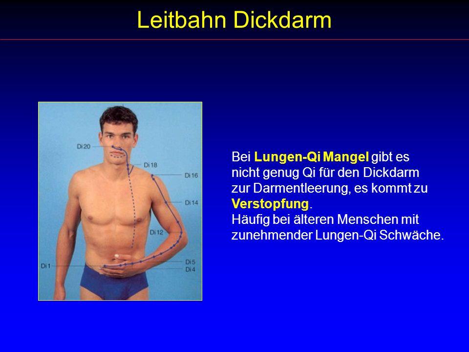 Leitbahn Dickdarm Bei Lungen-Qi Mangel gibt es nicht genug Qi für den Dickdarm zur Darmentleerung, es kommt zu Verstopfung. Häufig bei älteren Mensche