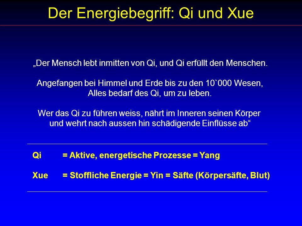 Der Energiebegriff: Qi und Xue Der Mensch lebt inmitten von Qi, und Qi erfüllt den Menschen. Angefangen bei Himmel und Erde bis zu den 10`000 Wesen, A