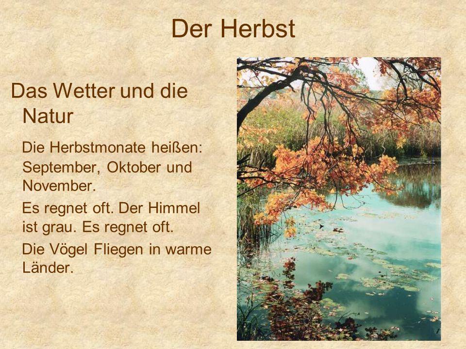 Der Herbst Das Wetter und die Natur Die Herbstmonate heißen: September, Oktober und November.