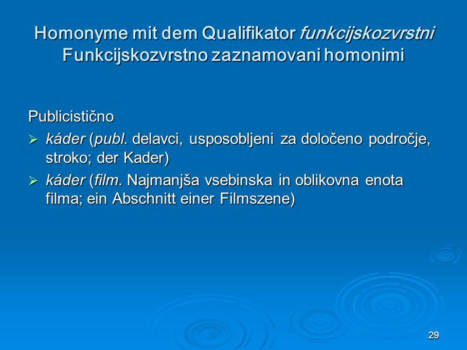 29 Homonyme mit dem Qualifikator funkcijskozvrstni Funkcijskozvrstno zaznamovani homonimi Publicistično káder (publ.