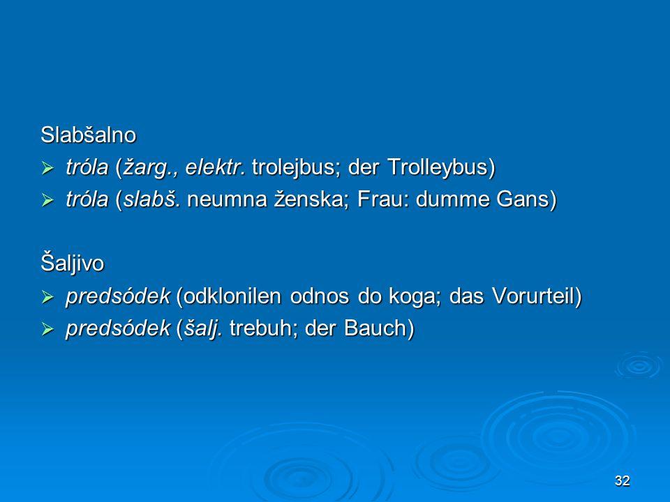 32 Slabšalno tróla (žarg., elektr. trolejbus; der Trolleybus) tróla (žarg., elektr. trolejbus; der Trolleybus) tróla (slabš. neumna ženska; Frau: dumm