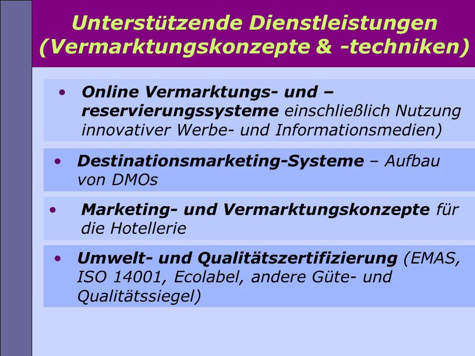 Online Vermarktungs- und – reservierungssysteme einschließlich Nutzung innovativer Werbe- und Informationsmedien) Unterst ü tzende Dienstleistungen (V
