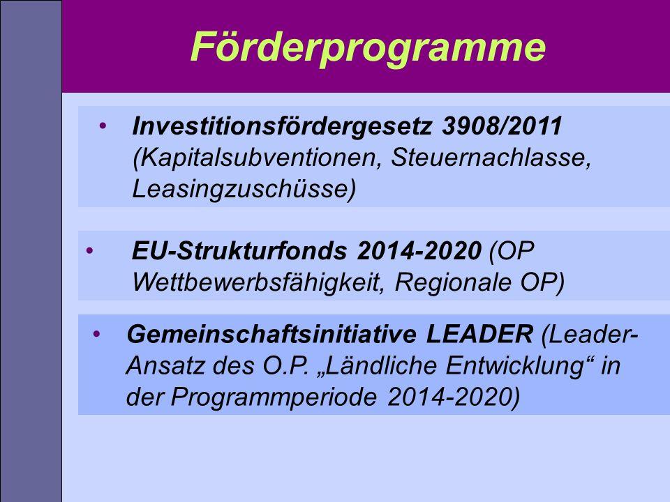 Investitionsfördergesetz 3908/2011 (Kapitalsubventionen, Steuernachlasse, Leasingzuschüsse) Förderprogramme EU-Strukturfonds 2014-2020 (OP Wettbewerbs