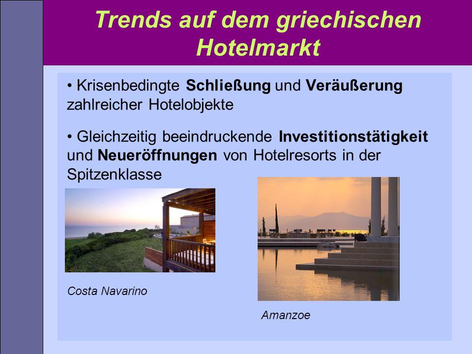 Trends auf dem griechischen Hotelmarkt Krisenbedingte Schließung und Veräußerung zahlreicher Hotelobjekte Gleichzeitig beeindruckende Investitionstäti