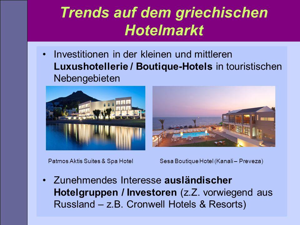 Trends auf dem griechischen Hotelmarkt Investitionen in der kleinen und mittleren Luxushotellerie / Boutique-Hotels in touristischen Nebengebieten Pat
