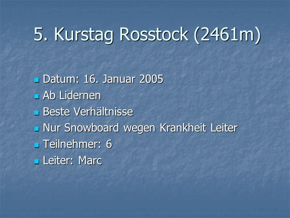 5. Kurstag Rosstock (2461m) Datum: 16. Januar 2005 Datum: 16. Januar 2005 Ab Lidernen Ab Lidernen Beste Verhältnisse Beste Verhältnisse Nur Snowboard