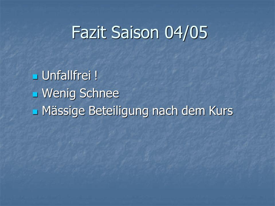 Fazit Saison 04/05 Unfallfrei . Unfallfrei .