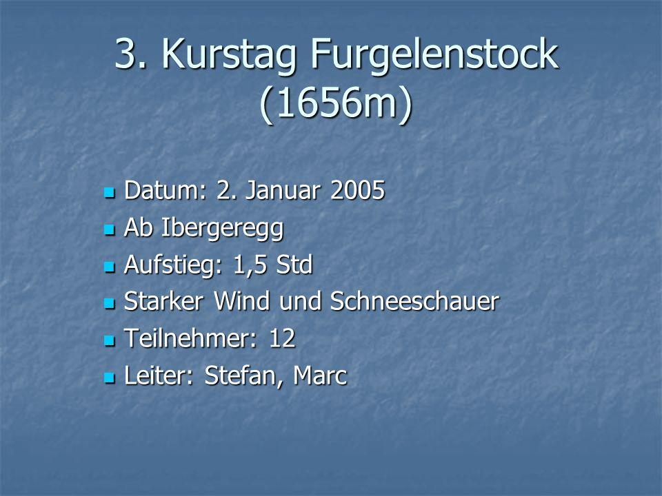 3. Kurstag Furgelenstock (1656m) Datum: 2. Januar 2005 Datum: 2. Januar 2005 Ab Ibergeregg Ab Ibergeregg Aufstieg: 1,5 Std Aufstieg: 1,5 Std Starker W