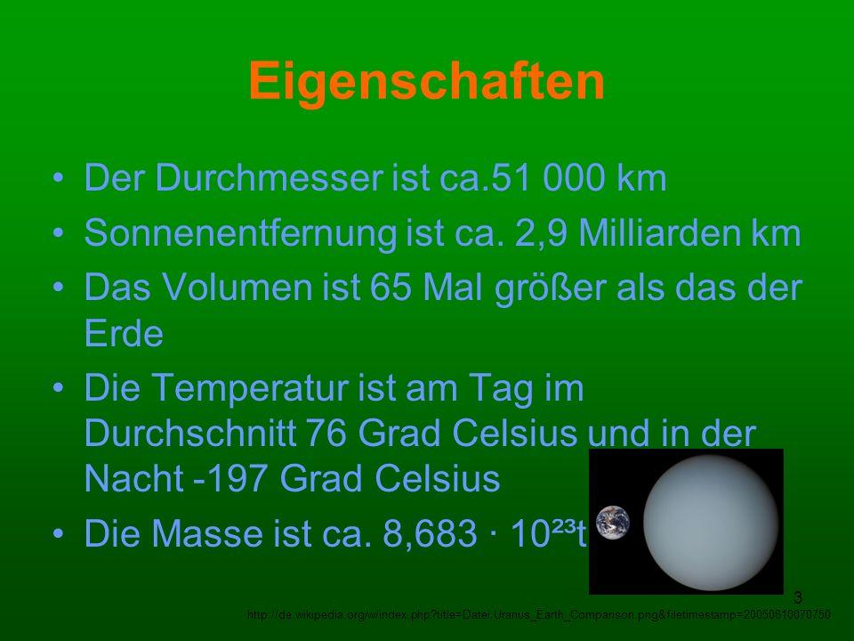 4 Weitere Eigenschaften Fallbeschleunigung: 8,87 m/s² Neigung der Rotationsachse: 97,77° Die Umlaufbahn um die Sonne ist ca.