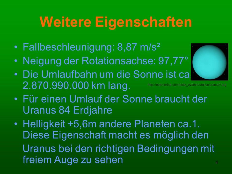5 Weitere Eigenschaften Die Dichte ist1,27 g/cm³ 1 Tag auf Uranus dauert 17 Stunden 14 Minuten und 24 Sekunden Der Uranus hat auch eine Atmosphäre