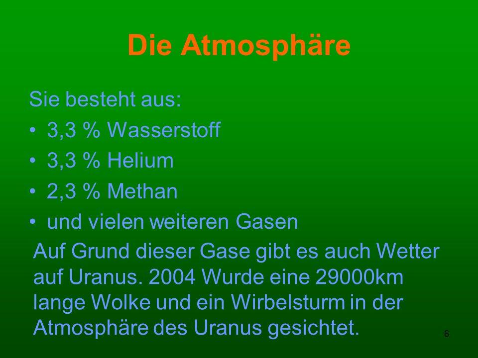 6 Die Atmosphäre Sie besteht aus: 3,3 % Wasserstoff 3,3 % Helium 2,3 % Methan und vielen weiteren Gasen Auf Grund dieser Gase gibt es auch Wetter auf
