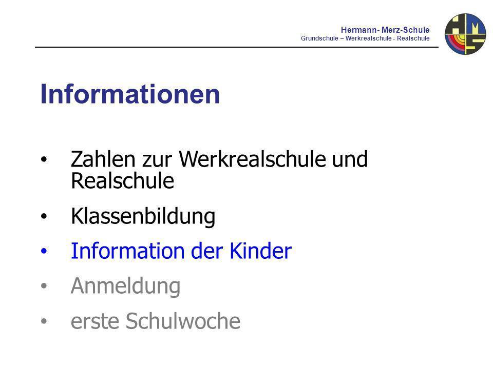 Informationen Zahlen zur Werkrealschule und Realschule Klassenbildung Information der Kinder Anmeldung erste Schulwoche Hermann- Merz-Schule Grundschule – Werkrealschule - Realschule