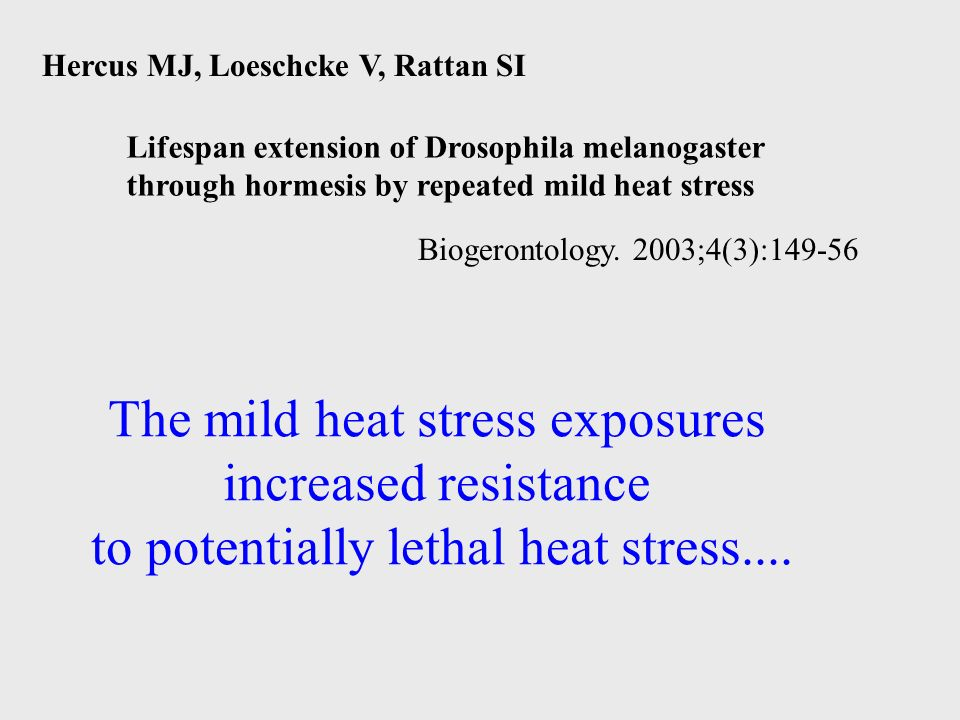 Hercus MJ, Loeschcke V, Rattan SI Biogerontology. 2003;4(3):149-56 The mild heat stress exposures increased resistance to potentially lethal heat stre