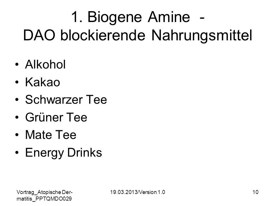 Vortrag_Atopische Der- matitis_PPTQMDO029 19.03.2013/Version 1.010 1. Biogene Amine - DAO blockierende Nahrungsmittel Alkohol Kakao Schwarzer Tee Grün