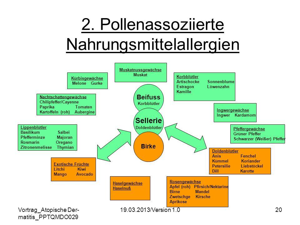 Vortrag_Atopische Der- matitis_PPTQMDO029 19.03.2013/Version 1.020 2. Pollenassoziierte Nahrungsmittelallergien Beifuss Korbblütler Sellerie Doldenblü