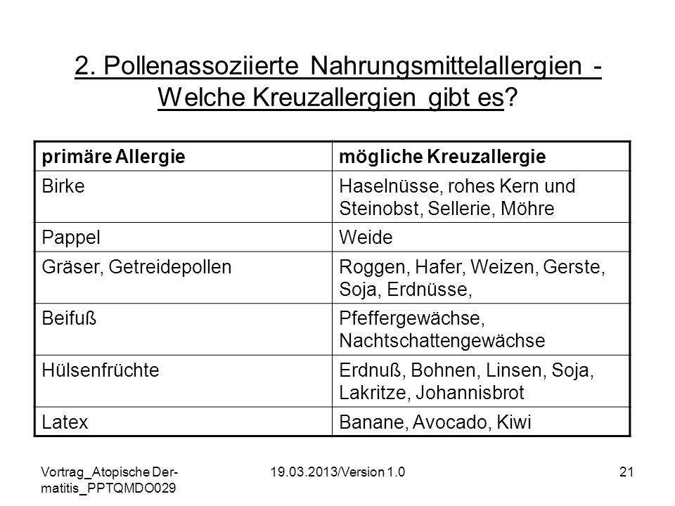 Vortrag_Atopische Der- matitis_PPTQMDO029 19.03.2013/Version 1.021 2. Pollenassoziierte Nahrungsmittelallergien - Welche Kreuzallergien gibt es? primä