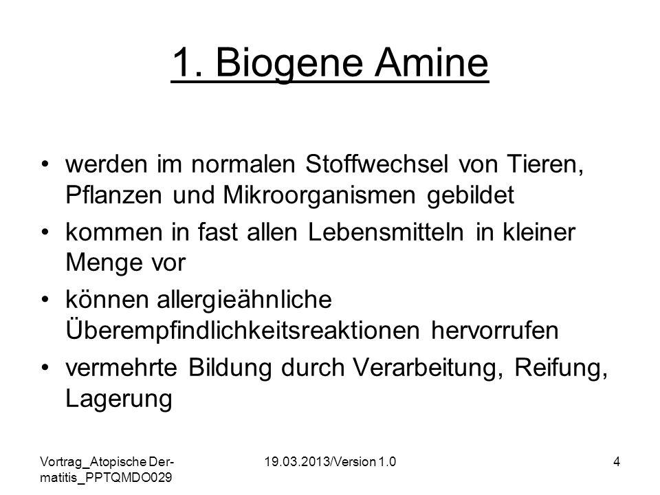 Vortrag_Atopische Der- matitis_PPTQMDO029 19.03.2013/Version 1.04 1. Biogene Amine werden im normalen Stoffwechsel von Tieren, Pflanzen und Mikroorgan
