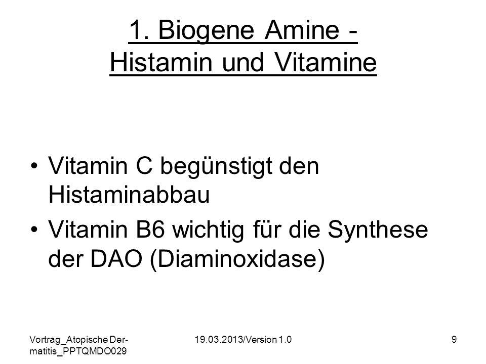 Vortrag_Atopische Der- matitis_PPTQMDO029 19.03.2013/Version 1.09 1. Biogene Amine - Histamin und Vitamine Vitamin C begünstigt den Histaminabbau Vita