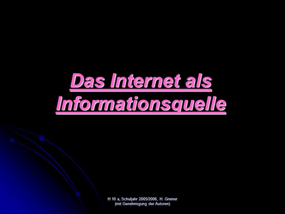 Das Internet als Informationsquelle