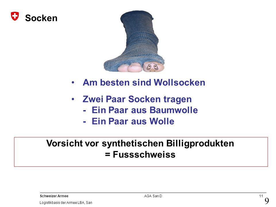 11 Schweizer Armee Logistikbasis der Armee LBA, San AGA San D Socken Am besten sind Wollsocken Zwei Paar Socken tragen -Ein Paar aus Baumwolle -Ein Pa