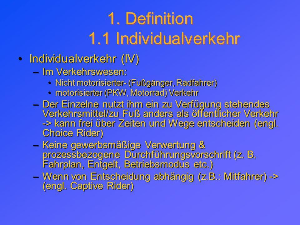 1. Definition 1.1 Individualverkehr Individualverkehr (IV) –I–I–I–Im Verkehrswesen: Nicht motorisierter- (Fußgänger, Radfahrer) motorisierter (PKW, Mo