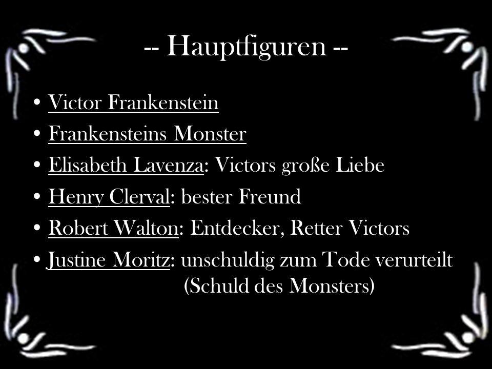 -- Hauptfiguren -- Victor Frankenstein Frankensteins Monster Elisabeth Lavenza: Victors große Liebe Henry Clerval: bester Freund Robert Walton: Entdec