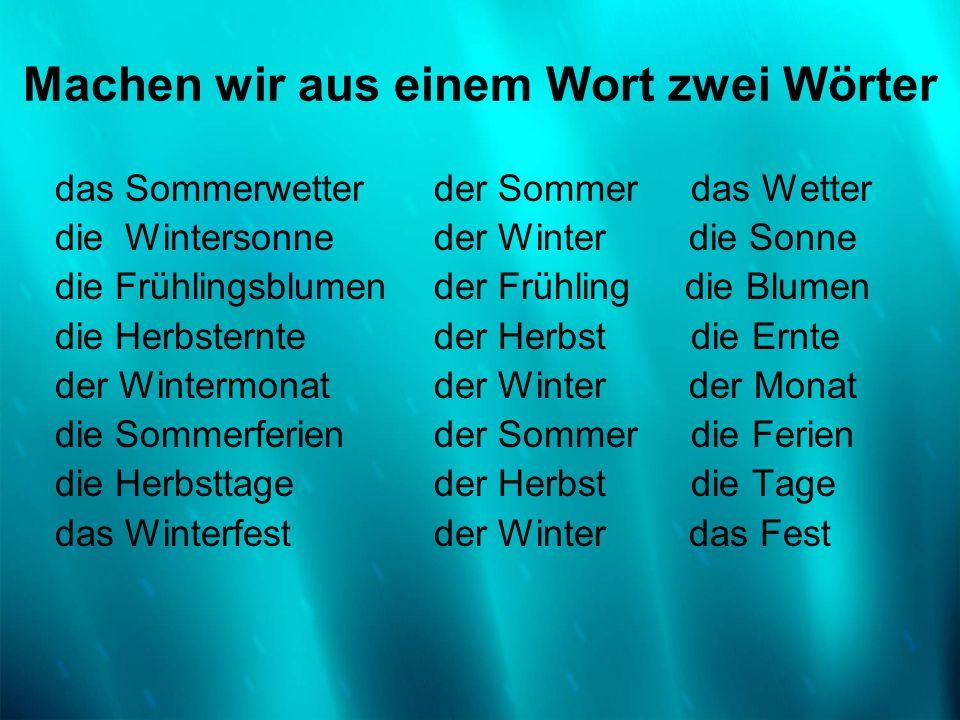 das Sommerwetter die Wintersonne die Frühlingsblumen die Herbsternte der Wintermonat die Sommerferien die Herbsttage das Winterfest der Sommer das Wet