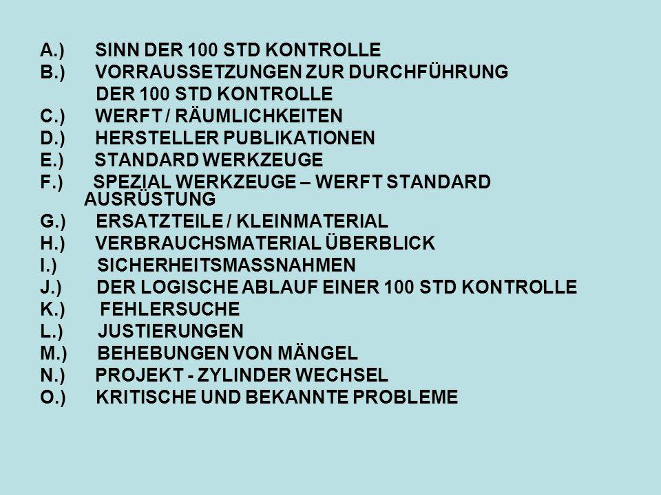 A.) SINN DER 100 STD KONTROLLE B.) VORRAUSSETZUNGEN ZUR DURCHFÜHRUNG DER 100 STD KONTROLLE C.) WERFT / RÄUMLICHKEITEN D.) HERSTELLER PUBLIKATIONEN E.)
