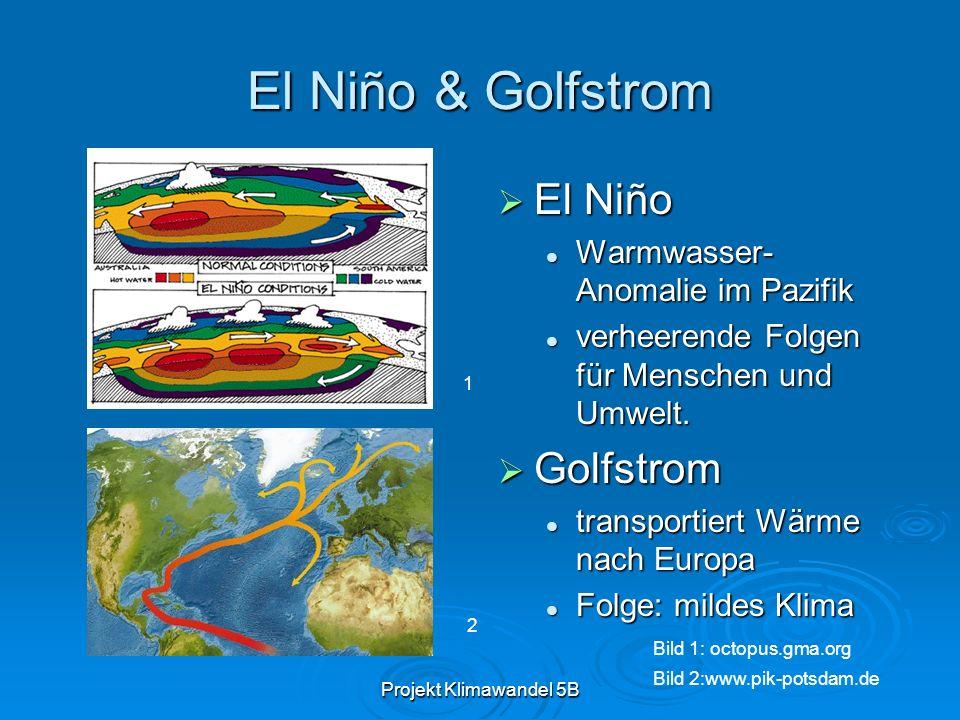 Projekt Klimawandel 5B El Niño & Golfstrom El Niño El Niño Warmwasser- Anomalie im Pazifik verheerende Folgen für Menschen und Umwelt. Golfstrom Golfs