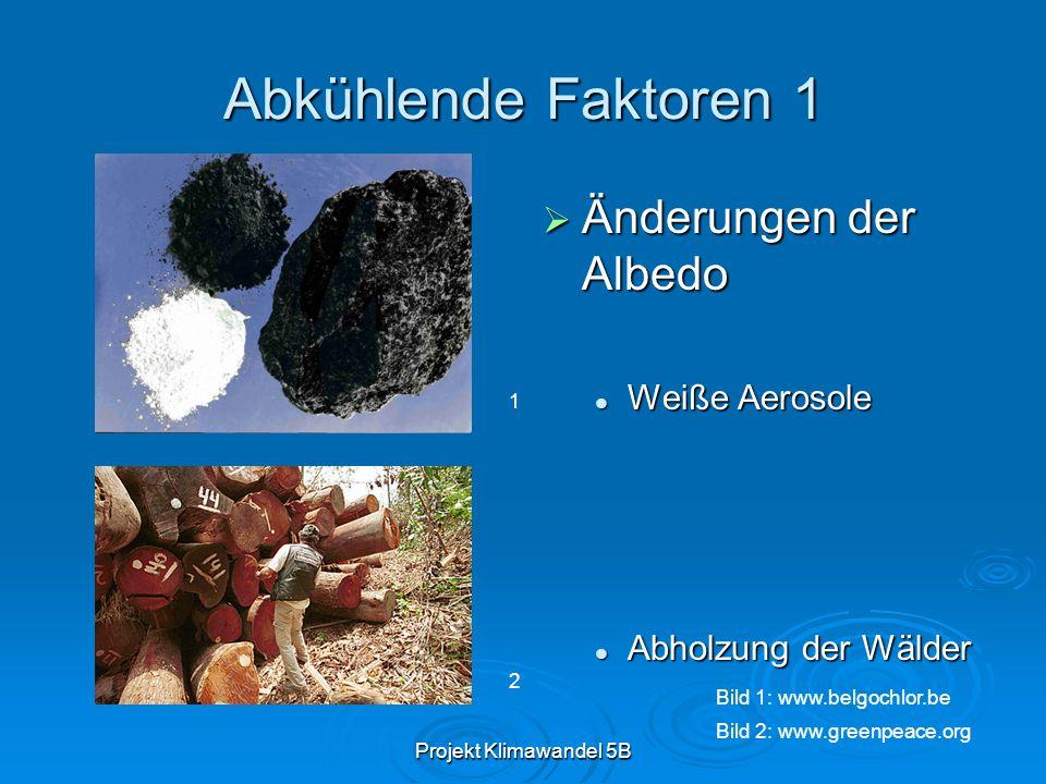 Projekt Klimawandel 5B Abkühlende Faktoren 1 Änderungen der Albedo Änderungen der Albedo Weiße Aerosole Abholzung der Wälder 1 2 Bild 1: www.belgochlo