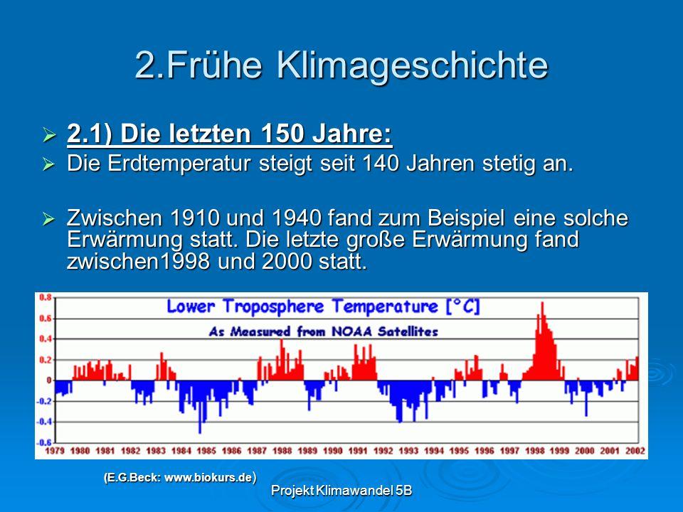 Projekt Klimawandel 5B 2.Frühe Klimageschichte 2.1) Die letzten 150 Jahre: 2.1) Die letzten 150 Jahre: Die Erdtemperatur steigt seit 140 Jahren stetig