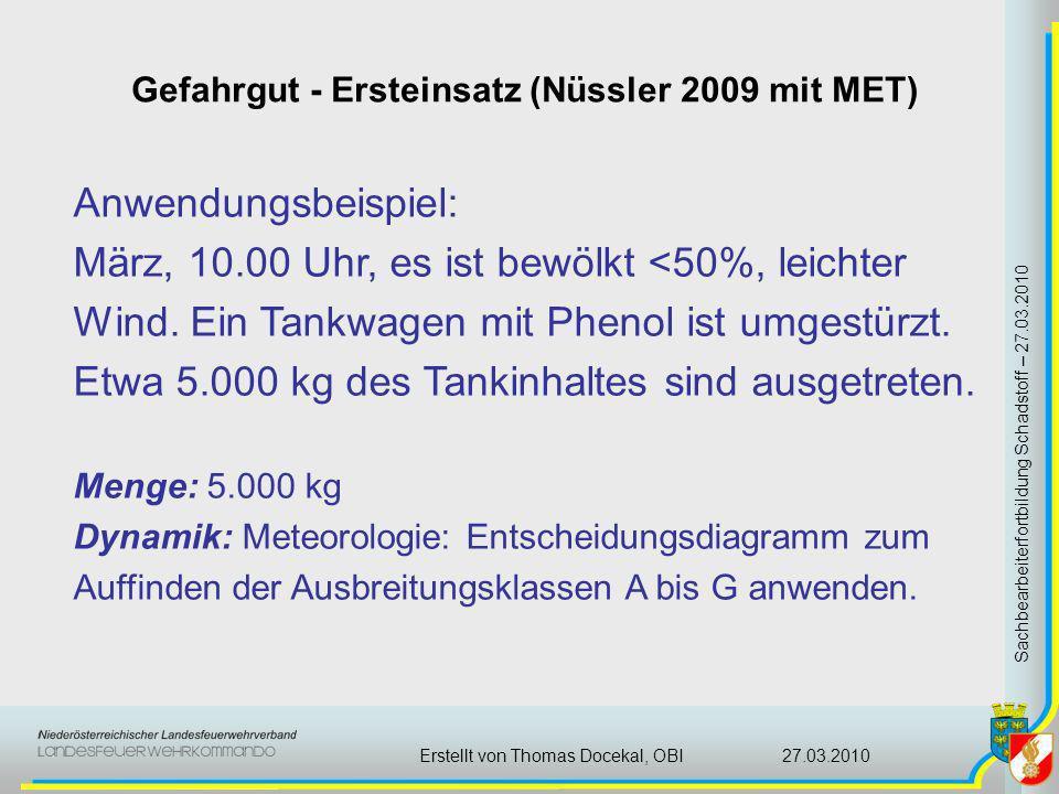 Gefahrgut - Ersteinsatz (Nüssler 2009 mit MET) Sachbearbeiterfortbildung Schadstoff – 27.03.2010 27.03.2010Erstellt von Thomas Docekal, OBI Anwendungs