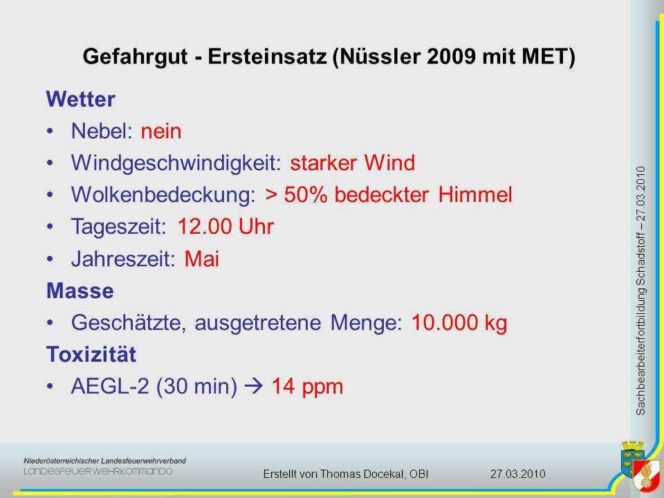 Gefahrgut - Ersteinsatz (Nüssler 2009 mit MET) Sachbearbeiterfortbildung Schadstoff – 27.03.2010 27.03.2010Erstellt von Thomas Docekal, OBI Wetter Neb