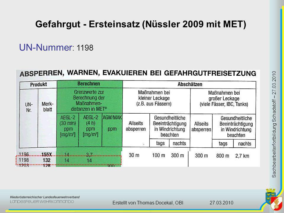 Gefahrgut - Ersteinsatz (Nüssler 2009 mit MET) Sachbearbeiterfortbildung Schadstoff – 27.03.2010 27.03.2010Erstellt von Thomas Docekal, OBI UN-Nummer