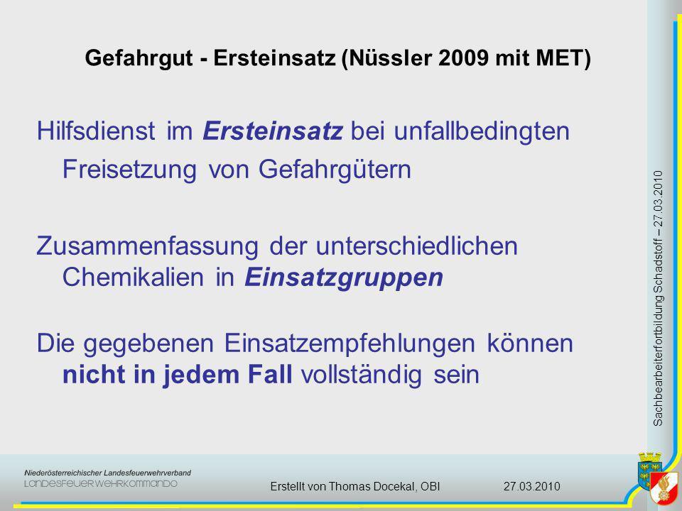 Gefahrgut - Ersteinsatz (Nüssler 2009 mit MET) Sachbearbeiterfortbildung Schadstoff – 27.03.2010 27.03.2010Erstellt von Thomas Docekal, OBI Hilfsdiens