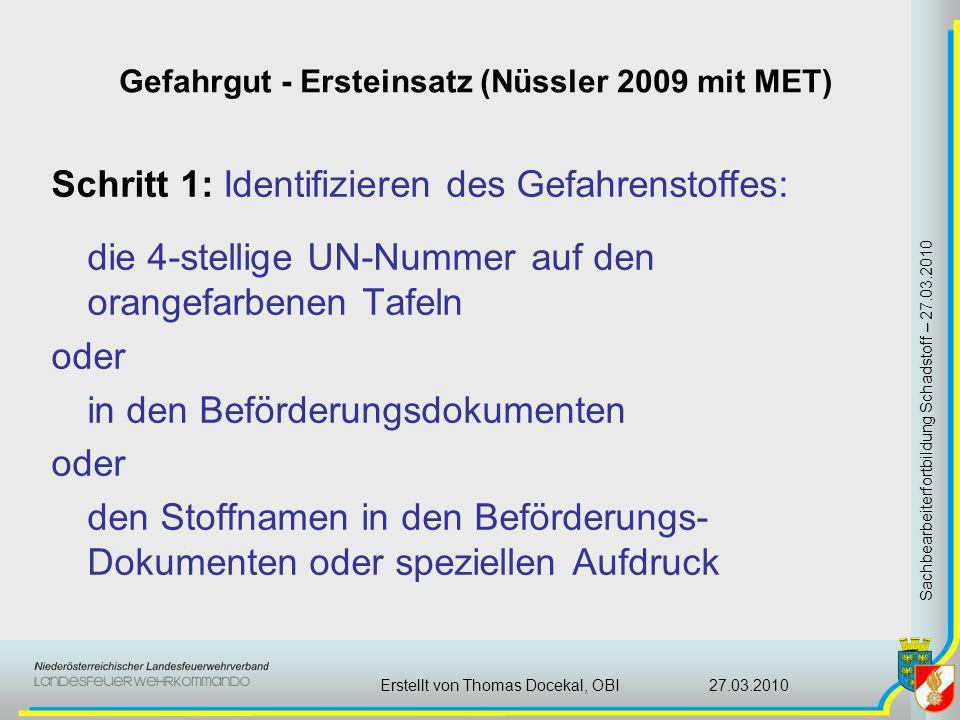 Gefahrgut - Ersteinsatz (Nüssler 2009 mit MET) Sachbearbeiterfortbildung Schadstoff – 27.03.2010 27.03.2010Erstellt von Thomas Docekal, OBI Schritt 1: