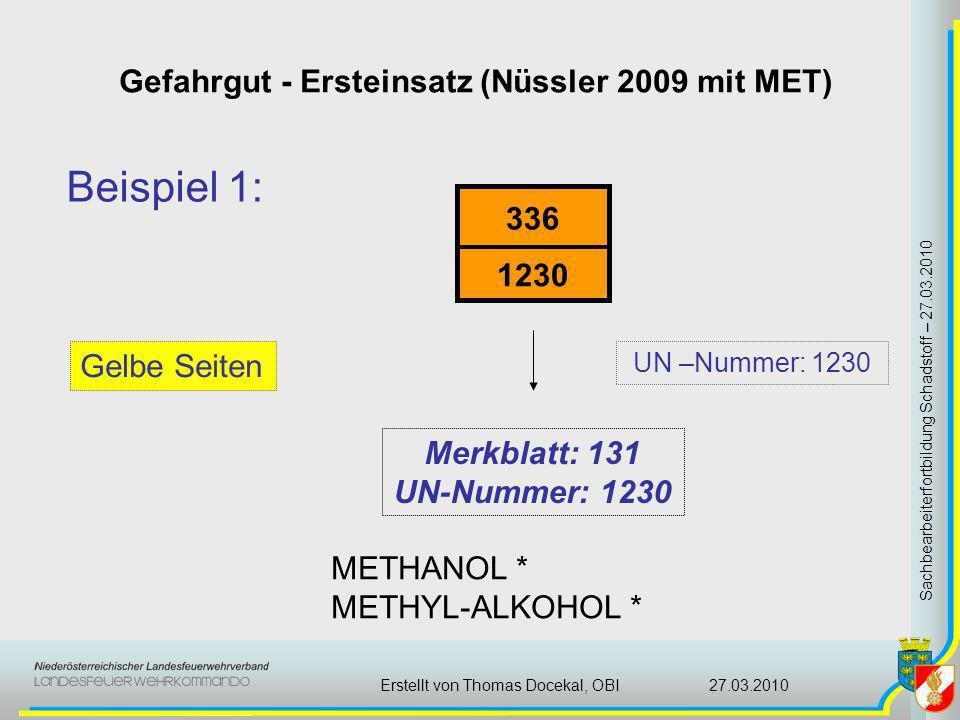 Gefahrgut - Ersteinsatz (Nüssler 2009 mit MET) Sachbearbeiterfortbildung Schadstoff – 27.03.2010 27.03.2010Erstellt von Thomas Docekal, OBI Beispiel 1