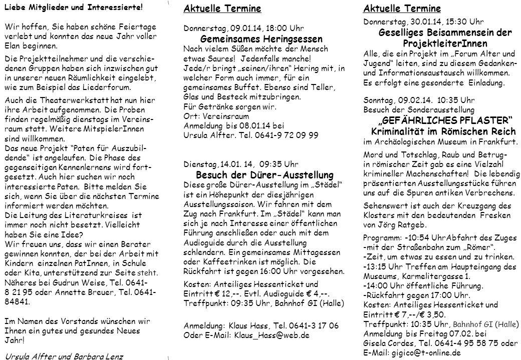 Aktuelle Termine Donnerstag, 13.03.14, 13:30 Uhr Puppenstubenmuseum Laubach Nicht nur Kinderaugen strahlen beim Eintauchen in die Vergangenheit.