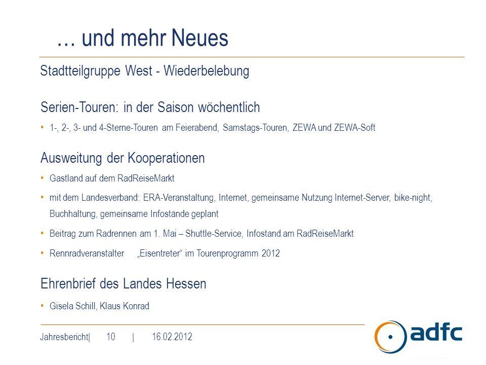 Jahresbericht| 10 | 16.02.2012 … und mehr Neues Stadtteilgruppe West - Wiederbelebung Serien-Touren: in der Saison wöchentlich 1-, 2-, 3- und 4-Sterne