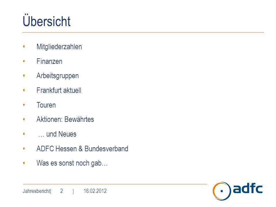 Jahresbericht| 2 | 16.02.2012 Übersicht Mitgliederzahlen Finanzen Arbeitsgruppen Frankfurt aktuell Touren Aktionen: Bewährtes … und Neues ADFC Hessen