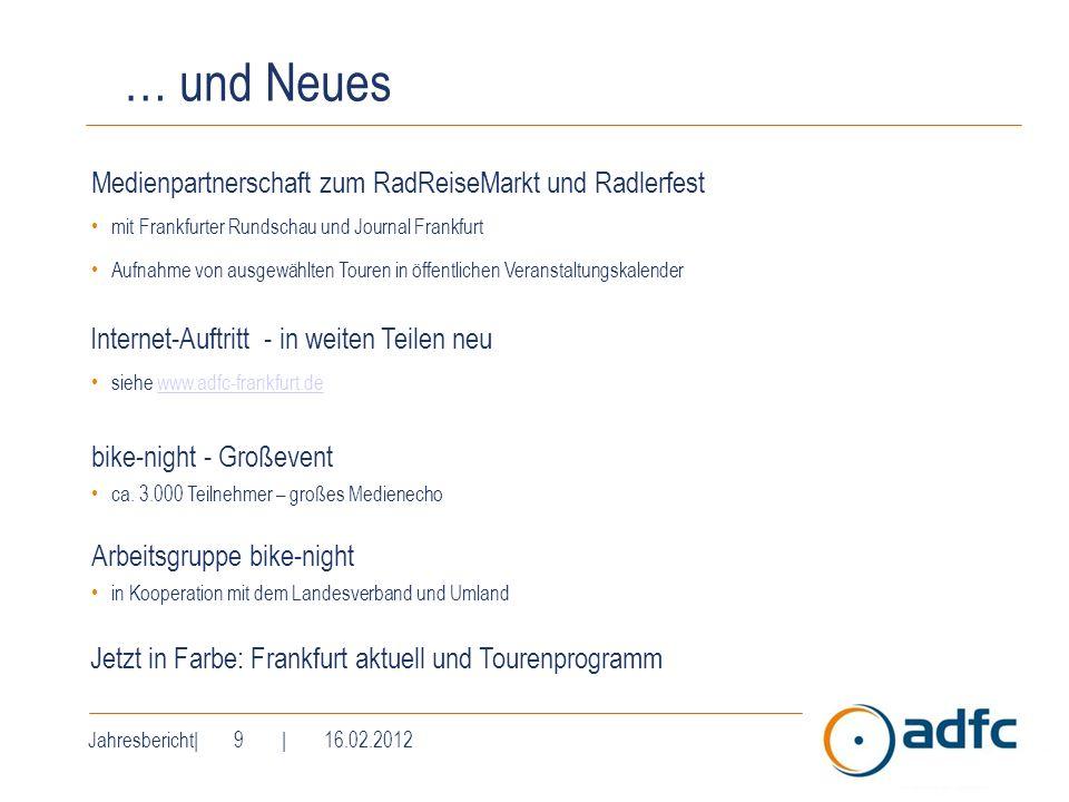 Jahresbericht| 9 | 16.02.2012 … und Neues Medienpartnerschaft zum RadReiseMarkt und Radlerfest mit Frankfurter Rundschau und Journal Frankfurt Aufnahm