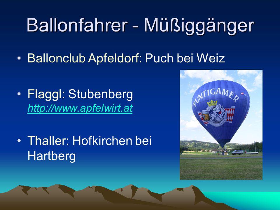 Termine - Gespräche - Angebote Fahrt mit Flaggl mit 6000 m³ Ballon Spezielle Freigabe für den oberen Luftraum Nur bei stabilster Hochdruckwetterlage Start bei Schloss Schielleiten oder auf der Teichalm (abhängig vom Wetter) Dauer ca.