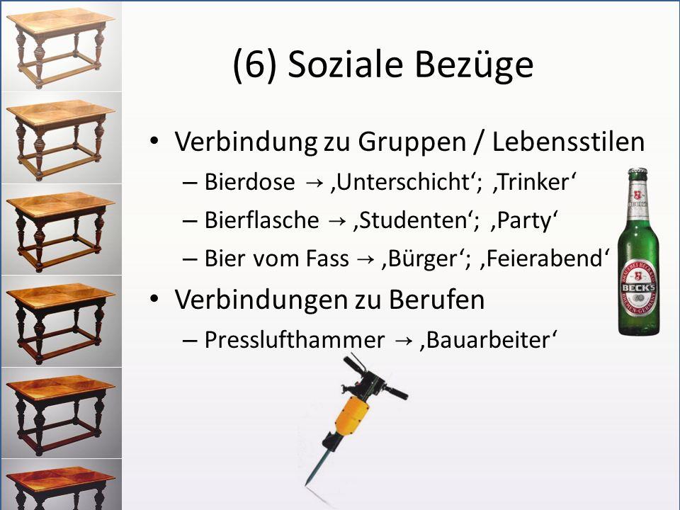 (6) Soziale Bezüge Verbindung zu Gruppen / Lebensstilen – Bierdose Unterschicht; Trinker – Bierflasche Studenten; Party – Bier vom Fass Bürger; Feiera