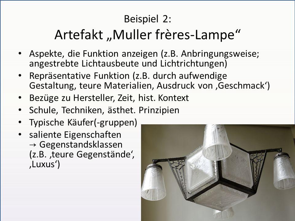 Beispiel 2: Artefakt Muller frères-Lampe Aspekte, die Funktion anzeigen (z.B. Anbringungsweise; angestrebte Lichtausbeute und Lichtrichtungen) Repräse