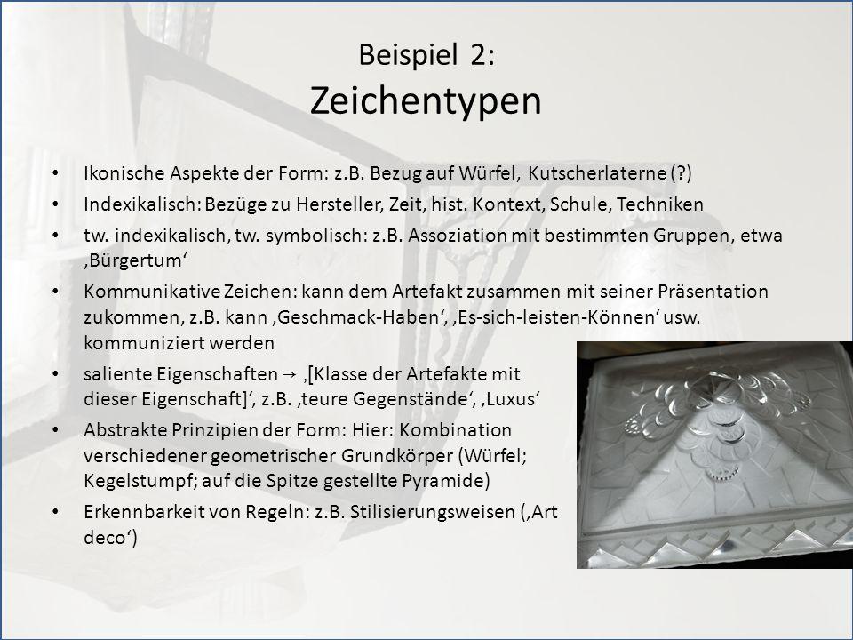 Beispiel 2: Zeichentypen Ikonische Aspekte der Form: z.B. Bezug auf Würfel, Kutscherlaterne (?) Indexikalisch: Bezüge zu Hersteller, Zeit, hist. Konte