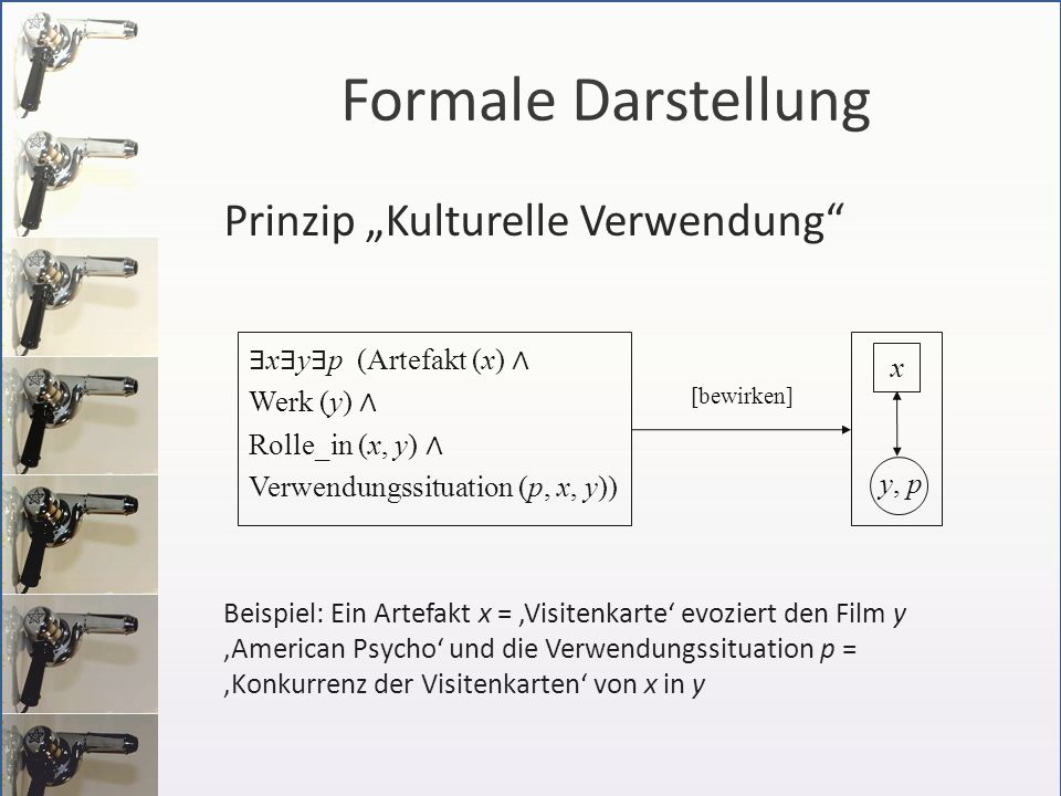 Prinzip Kulturelle Verwendung Beispiel: Ein Artefakt x = Visitenkarte evoziert den Film y American Psycho und die Verwendungssituation p = Konkurrenz